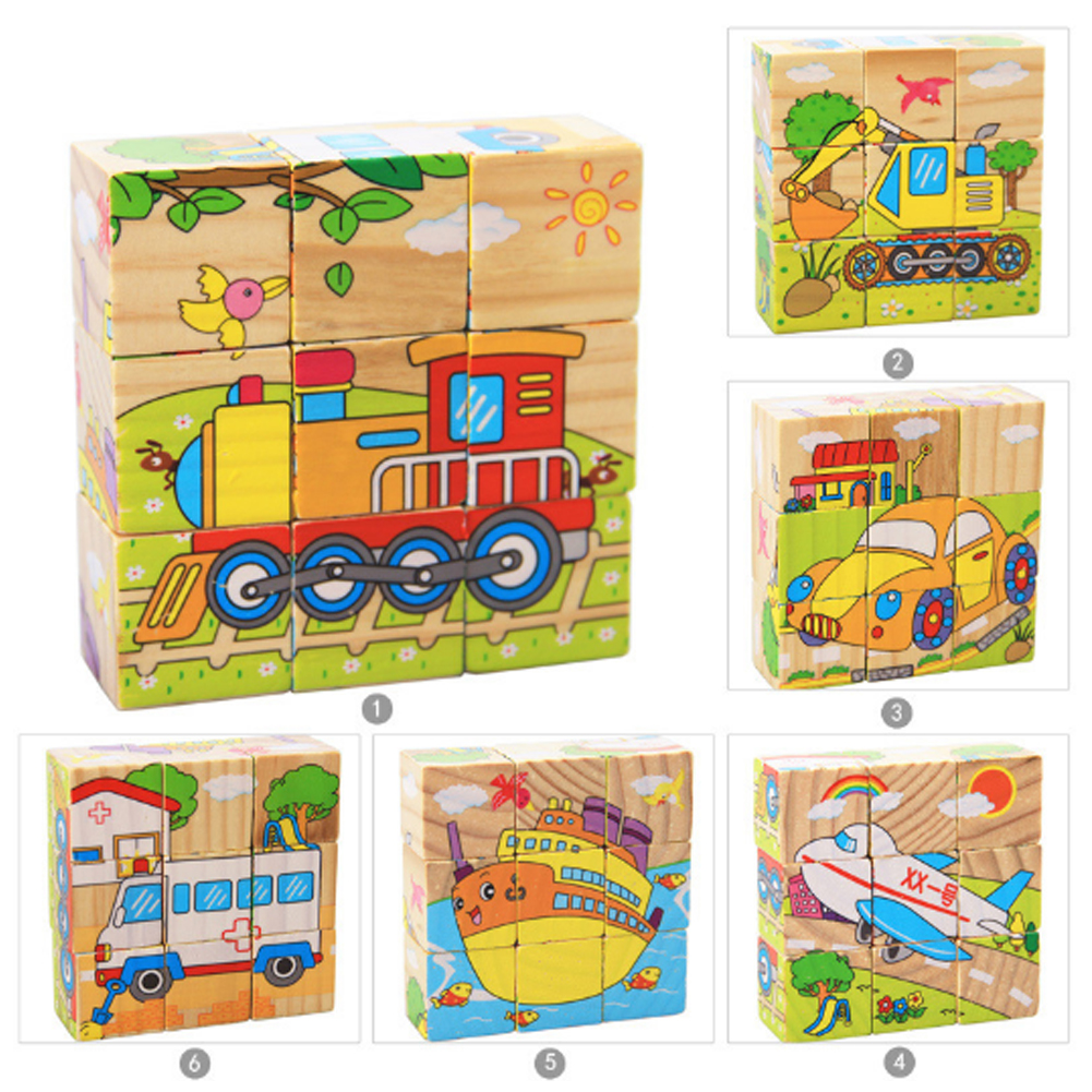 Children 3D Educational Block Toys Six Sides 9Pcs Wooden Magic Cubes Baby Transportation Jigsaw Block Cube Toys(Random Sent) yuxin zhisheng huanglong stickerless 7x7x7 speed magic cube puzzle game cubes educational toys for children kids