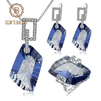 GEM'S BALLET Irregular Natural Iolite Blue Mystic Quartz Geometric Jewelry Sets 925 Sterling Silver Necklace Earrings Ring Set - DISCOUNT ITEM  47% OFF All Category