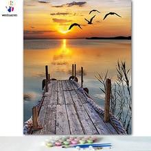 DIY картинки для раскраски по номерам с цветами высокомерие моря Картина Рисунок Живопись по номерам в рамке дома