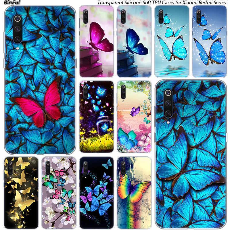 Ładny kwiat motyl silikonowe obudowa do xiaomi Pocophone F1 9T 9 9SE 8 A2 Lite A1 A2 Mix3 Redmi K20 7A uwaga 4 4X5 6 7 Pro S2