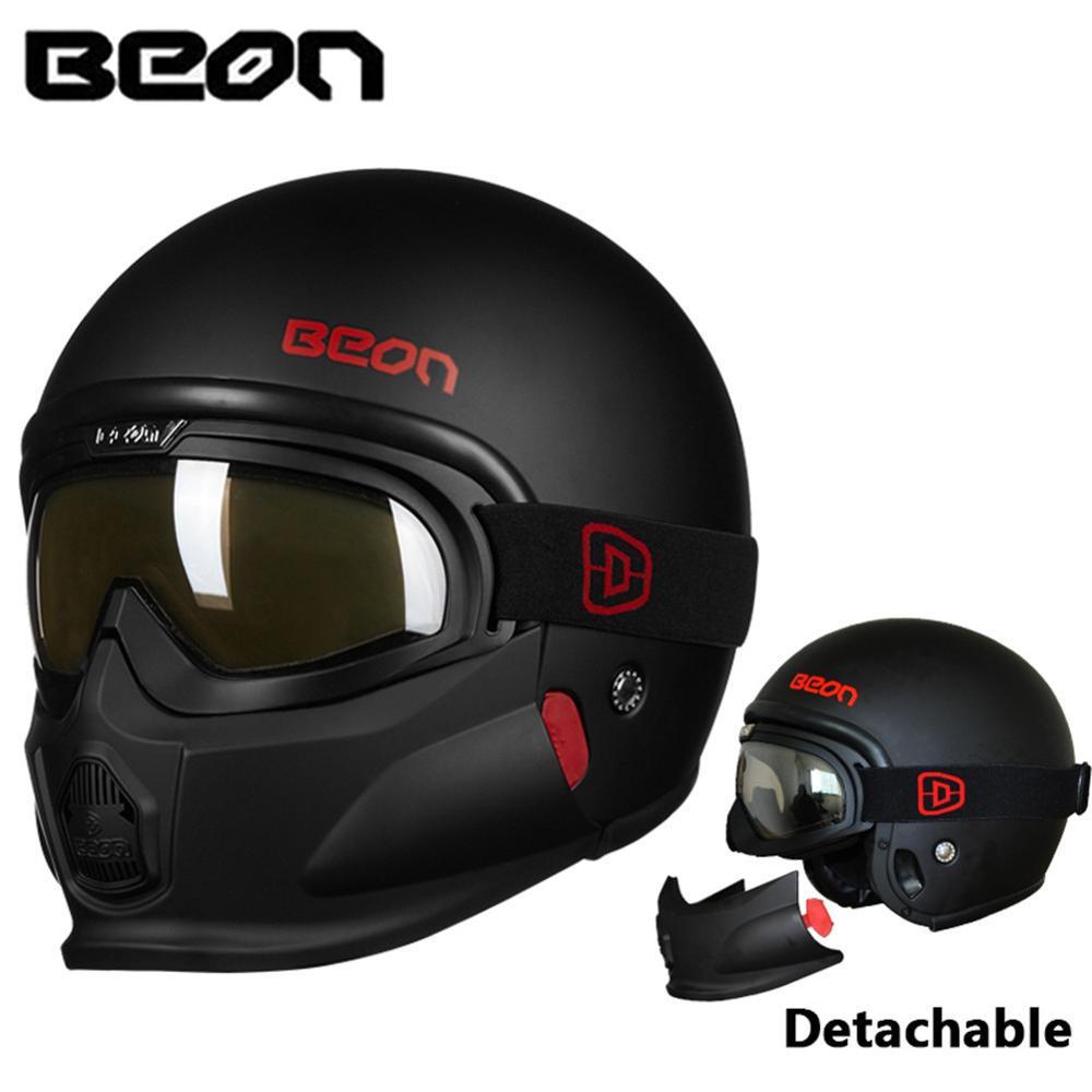 Us 166 99 16 Off Beon Motorcycle Modular Helmet Retro Casco Moto Capacetes De Motociclista Casque Moto Vintage Kask Jet Helm With Antifog Goggles In