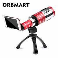 ORBMART 50X Optical Zoom Aluminum Telephoto Telescope Lens Back Tripod Back Case Cover For IPhone 7