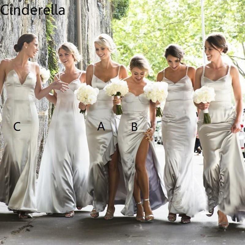 Cinderella V-Neck Spaghetti Straps Side Slit A-Line Elastic Satin   Bridesmaid   Gowns Hot Zipper Back Silk Satin   Bridesmaid     Dresses