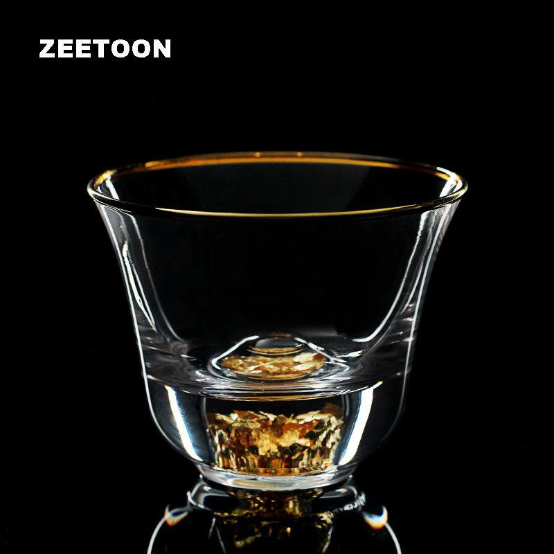 75ml Boutique Gold Outline Clear Crystal Teacup Tea Cup Small Tea Bowl Chinese Kung Fu Tea Set Master Cups Creative Home Decor