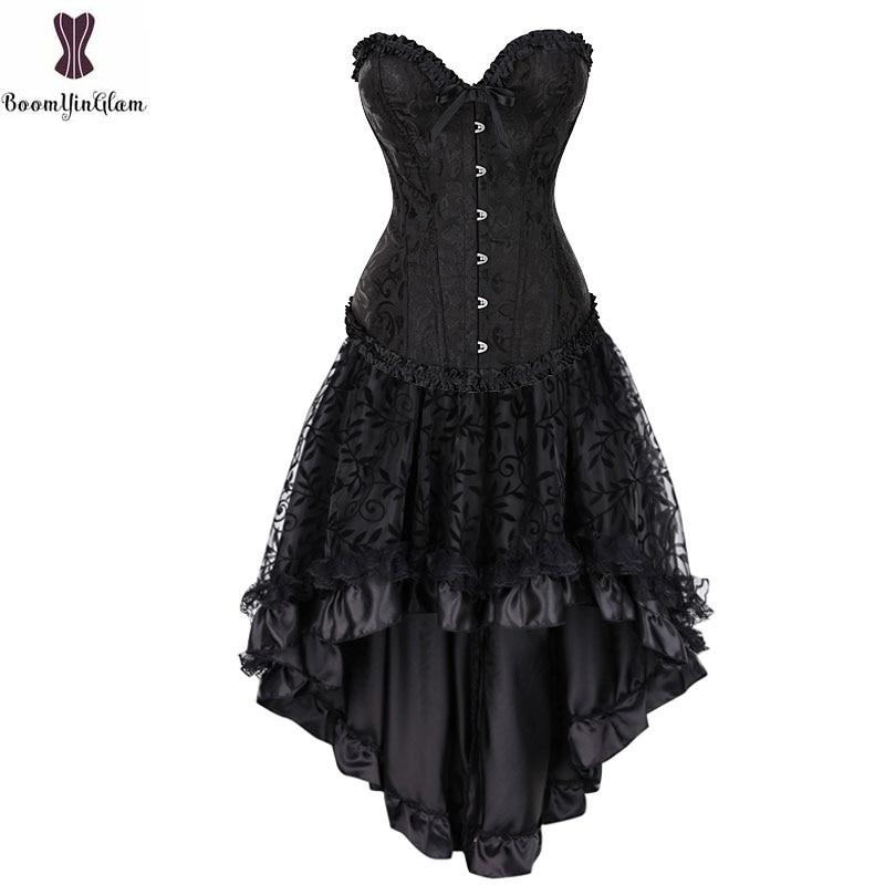 Corset Dress Suit Bustier Top & Skirt Retro Vintage Cosplay Burlesque Plus Size Women Costume Steampunk Gorset Set Sexy Clubwear