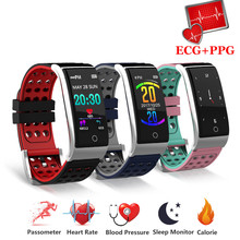 лучшая цена Sport Fitness Bracelet Fitness Tracker Heart Rate Monitor Blood Pressure Smart Band Ecg Ppg Smart Wristband For Ios Android