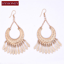 HYHONEY Gold color / Silver color earrings for women Colorful Long Jewelry Bohemia Tassel Drop Ethnic earings pendientes