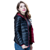 Women Ultra Light Down Jacket Double Side Reversible Jackets Plus Size 4XL Feather Jacket Women with Carry Bag Travel LP097