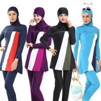 3pcs Set Top Pants Head Scarf Neck Muslim Women Hijab Full Cover Swimwear Swimming M XL