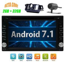 2 DIN Android 7.1 car DVD GPS autoradio stereo radio navigation support 4G wireless Bluetooth MirrorLink front and rear camera