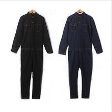 HOT Men's new autumn and winter suspenders jumpsuit overalls tide Slim leotard denim pants straight jeans singer costumes