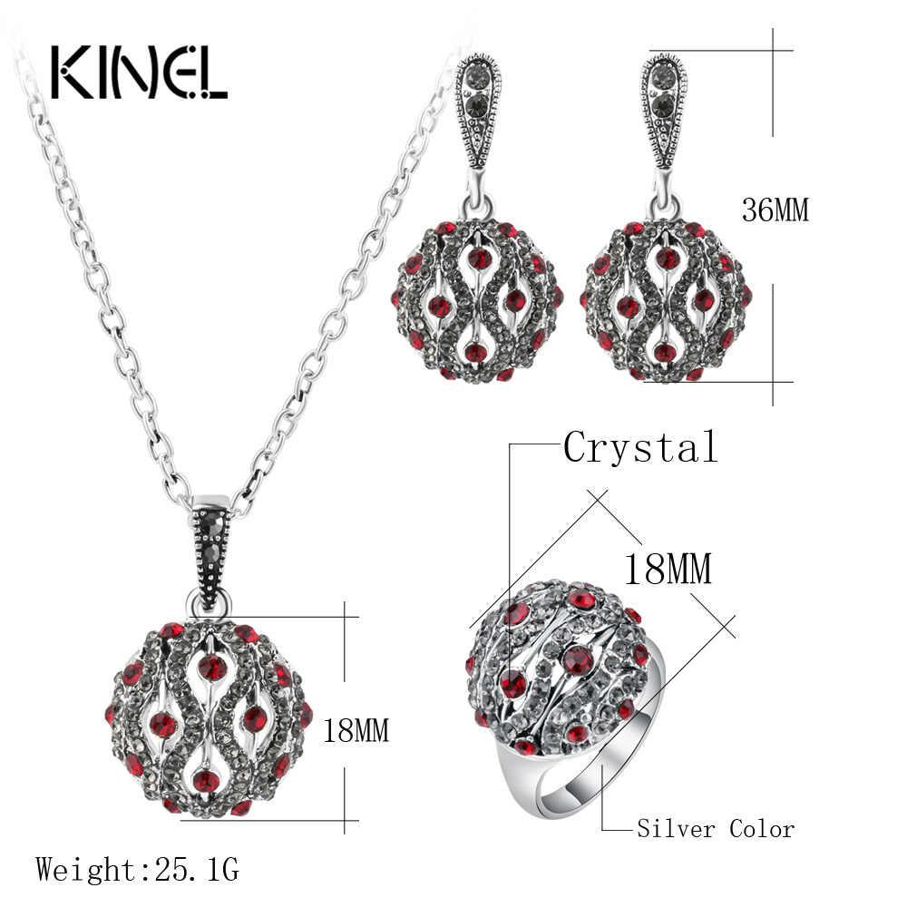 Kinel Fashion Crystal biżuteria na bal zestawy dla kobiet kolor srebrny okrągły pierścionek kolczyk i naszyjnik zestaw biżuterii ślubnej