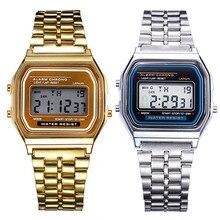 Frauen Männer Unisex Uhr Gold Silber Vintage Edelstahl LED Sport Military Armbanduhren Elektronische Digitale Uhren Präsentieren