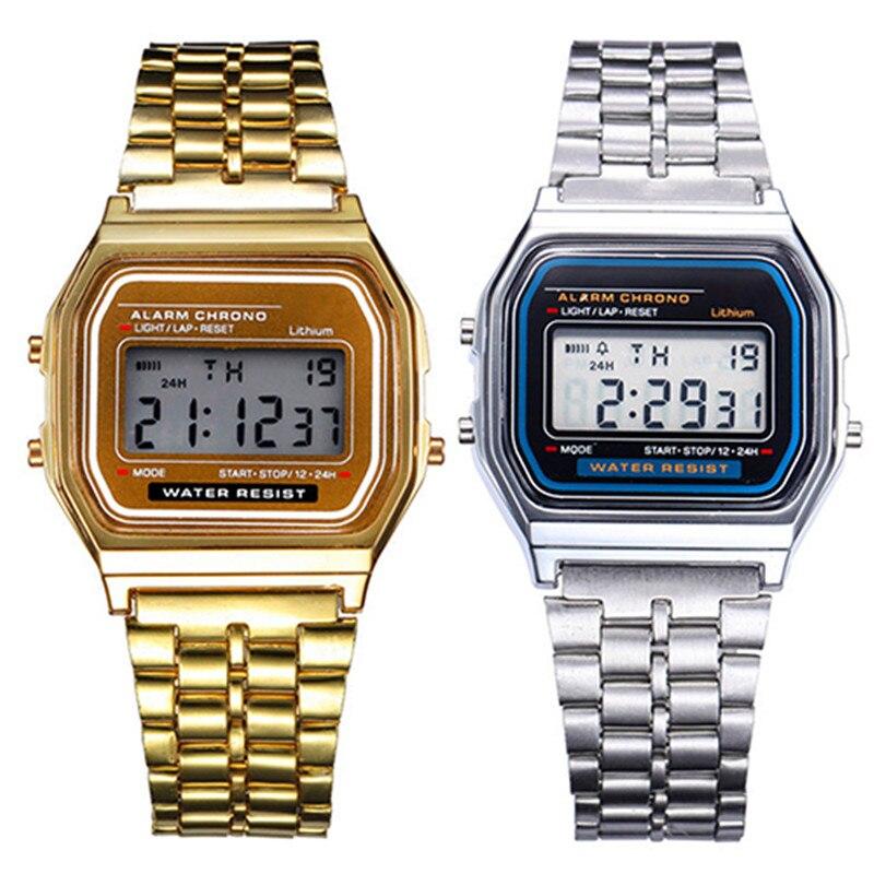 Relógio unissex relógio de aço inoxidável de prata de ouro do vintage led esportes militar relógios de pulso eletrônico digital presente
