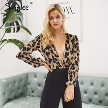 15b87442a0 Simplee Sexy deep v neck leopard satin splice bodysuit Women autumn winter  black long sleeve playsuit Elegant ladies romper