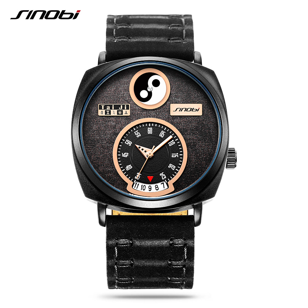 Sinobi Men's Creative Watches Genuine Leather Strap Unique Tai Chi Chinese Kung Fu Yin Yang Elements Concept Modern Watches 2020