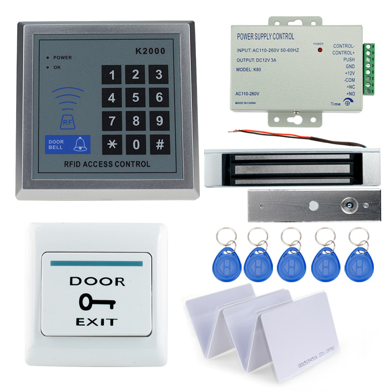 RFID door access control keypad system kit with 180KG magnetic lock+power supply+exit button+10pcs key cards door lock system rfid door access control system kit set with electric lock power supply doorbell door exit button 10 keys id card reader keypad