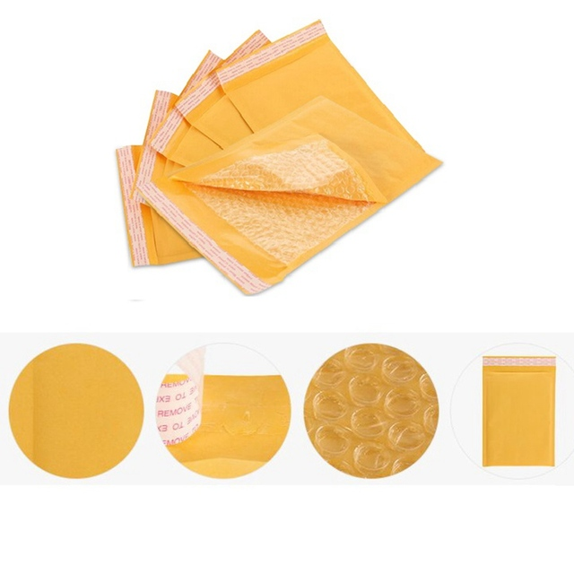 50pcs 110mm*130mm+40mm Mailing Bags Yellow Kraft Mailer International Transportation Post Packing Bag