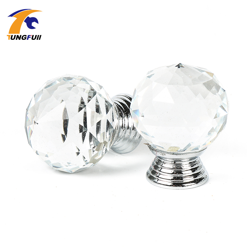new Modern Fashion K9 Clear Crystal Glass Chrome Cabinet Knobs New Door Handle(Diameter: 30MM) 10X css clear crystal glass cabinet drawer door knobs handles 30mm