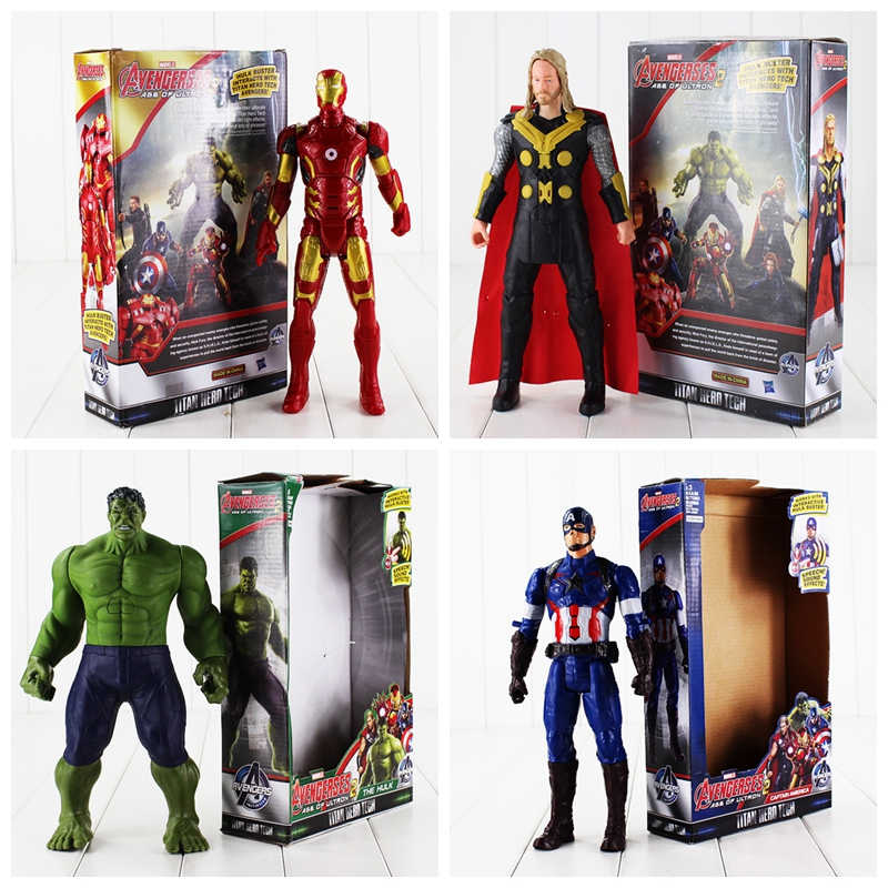 4pcs lot The Avengers Speaking Figures Thor Hulk Iron Man Captain America Model Toys with Sound