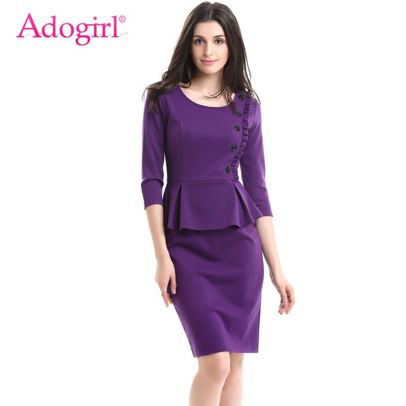 Adogirl Elegant Plus Size Women Ruffles Peplum Dress O Neck 3/4 ...