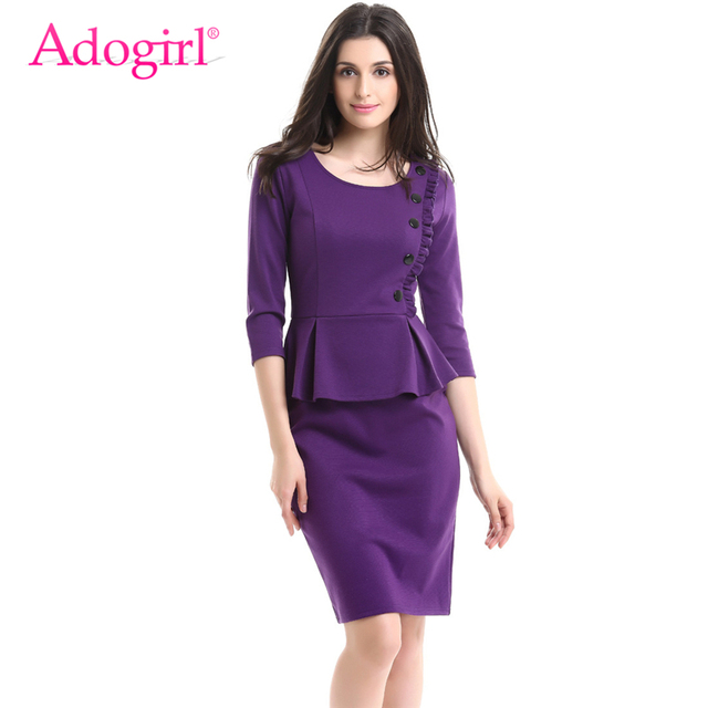 Adogirl Elegant Plus Size Women Ruffles Peplum Dress O Neck 3/4 Sleeve  Pencil Midi Ladies Business Office Dresses Cheap Vestidos-in Dresses from  ...