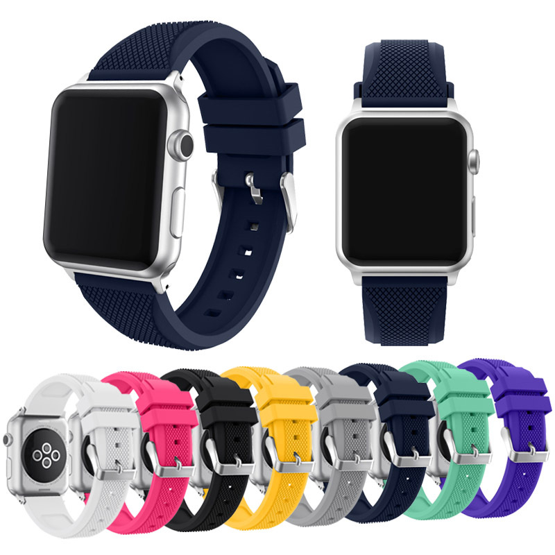 New Soft Silicone Strap for Apple Watch Band 38mm/42mm Pin Buckle Bracelet Bands Wrist Strap for iWatch Series 1 2 Sport Edition