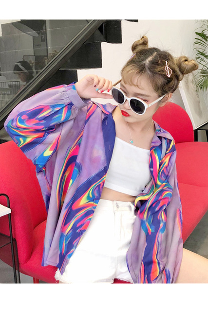 2018 New Summer Fashion Clothes Batwing Full Sleeve Sunscreen Cardigan Turn-down Collar Colorful Jacket Printed WA70814XL 5