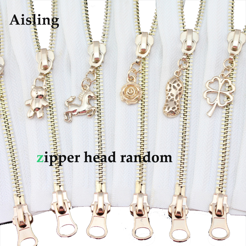 NEW Airrval Metal Zipper White Fabric Gold Teeth Double Zipper Sliders 110cm Zipper For Sewing Clothes Materials.D379