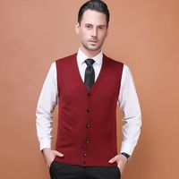 New 2017 autumn mens solid color wool sweater cardigan male casual v neck buttons up cashmere sweater sleeveless cardgian vest
