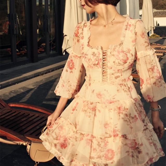 0c026b80f5 CORSAIR FRILL CORSET DRESS SILK digital printing tight mini dress with  lantern sleeve