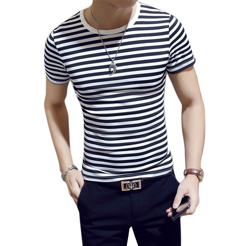 2019 Summer Men   T     Shirt   Fashion Short Sleeve Striped Tops Casual O-Neck   T  -  Shirt   Plus Size Slim Fit Tshirt Male Tee   Shirt   Homme