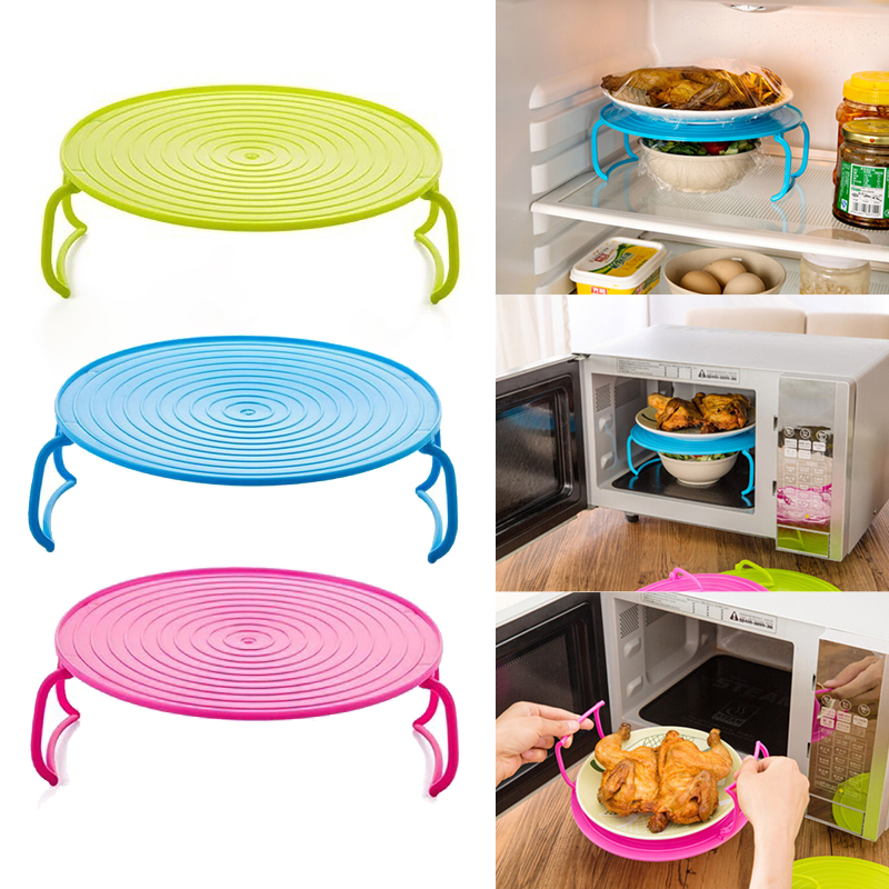 Microwave Oven Heating Layered Steaming Tray Food Rack Bowls Holder Kitchen Shelf Organizer Plate Stand Tool Kitchen Accessories
