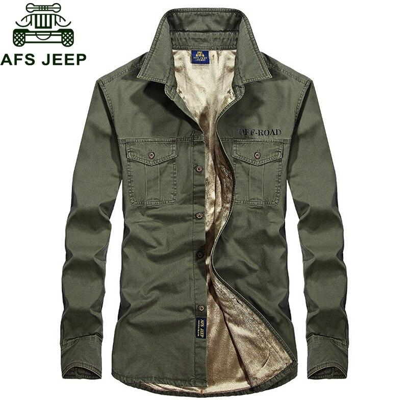 AFS JEEP Autumn Winter Fleece Shirt Men Thick Warm Military Men's Shirt Chemise homme Casual Cotton Mens Shirts Plus Size 4XL