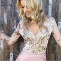 Золотой блесток сетки боди для женщин Combinaison Femme Прозрачный рукав купальник боди топ V шеи элегантный комбинезон ползунки
