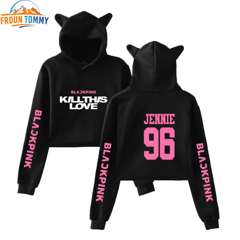 Kpop grupo blackpink nova impressão 2d 2019 série rosa moda tendência sala gato colheita topo feminino hoodies moletom roupas sexy