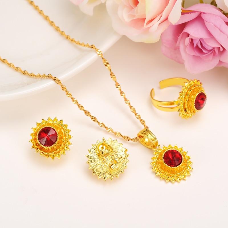 Bangrui μικρό μέγεθος γυναίκες Αιθιοπίας κοσμήματα καθορίζει χρυσό χρώμα σκουλαρίκια rhinestone / δαχτυλίδι / μενταγιόν / κοσμήματα αλυσίδα σύνολα