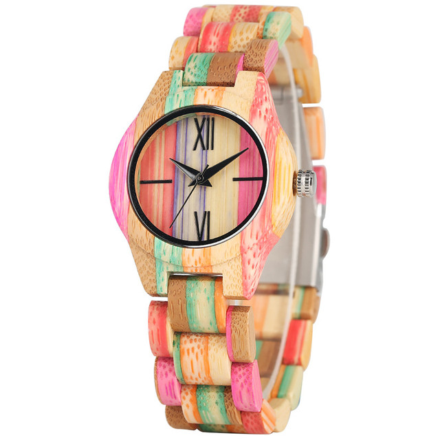 Timekeeper Creative Sunshine Rainbow Wood Watch for Women Colorful Bamboo Case Quartz Watch Movement Lightweight Wooden Watch | Fotoflaco.net