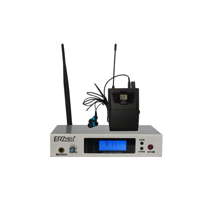 1 Pack Receivers + Wireless In Ear Monitor System, Professional Dual Channels Transmitter + lapel wireless microphone UHF 600A