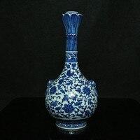 Niebieski i biały Lew uszy Blokujące Lotosu usta Butelka chiński antyczne porcelany rzemiosło vintage home decor