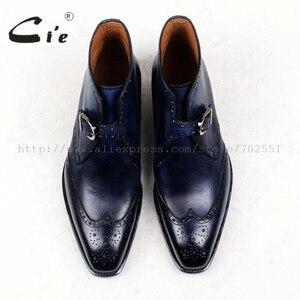 Image 4 - Cie מלא בוהן מרובע נעלי מדליון פטינה כחול 100% עור עגל אמיתי אתחול אתחול אבזם של גברים בעבודת יד גודייר דקות עטר A91