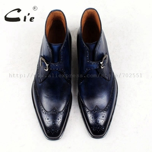 Image 4 - cie square toe full brogues medallion patina blue 100%genuine calf leather boot goodyear welted buckle handmade mens boot  A91