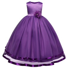 Girls Dresses for Party and Wedding Silky Dress For Girls Satin Flower Lace Knee-Length Girl Dress Formal Kids Girl Clothing