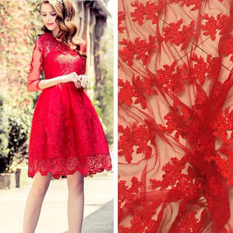 High end mesh lace dyed embroidery clothing fabric for High end fashion websites
