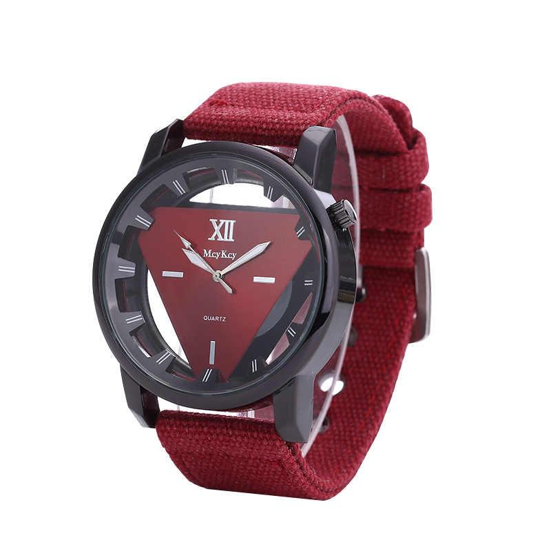 Relogio Masculino nouveau Style creux unisexe Triangle montre hommes squelette montres militaire toile bracelet Quartz mâle horloge Chasy