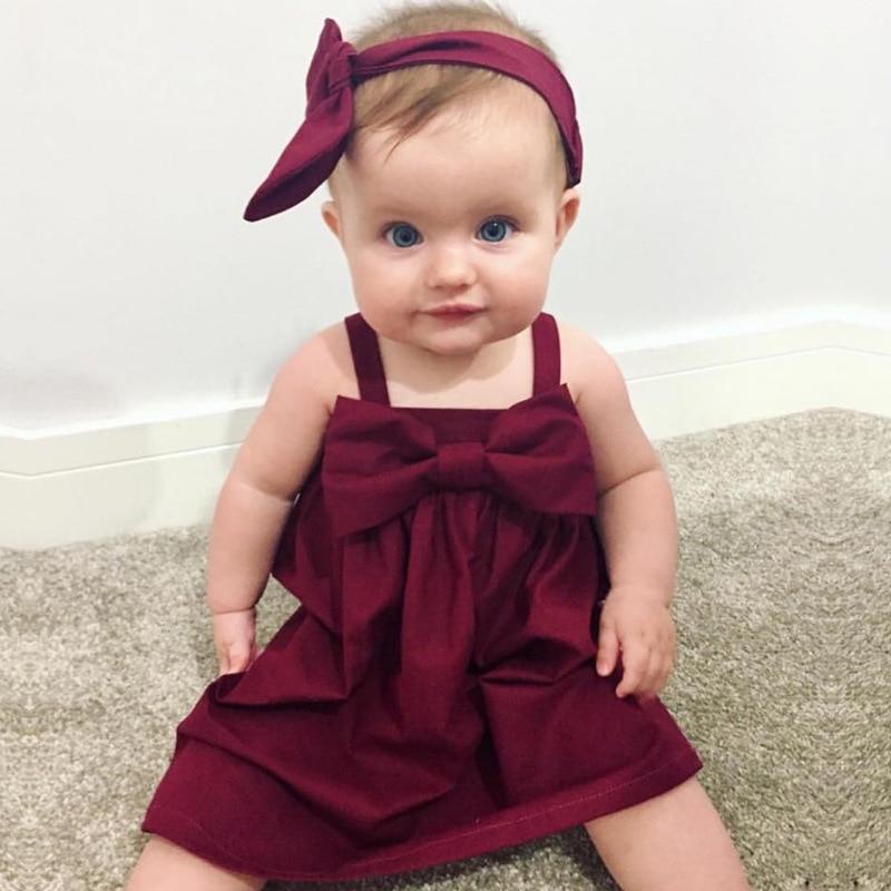 Baby Girls Dress 2017 New Fashion bowknot Sleeveless summer Princess baby Dress Leisure baby Clothing