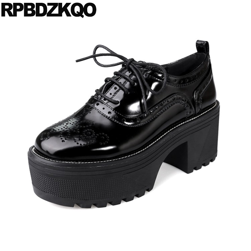 Black Female High Heels Size 33 Platform Block Round Toe Women Lace Up Oxford Big Creepers Casual Patent Leather 3 Inch New
