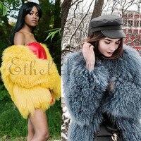 2018 Womens Mongolia Lamb Fur Coat Tibet Sheep Fur Coats Short Sheep Skin Jacket Sheep Fur Real Fur Mid length Coat Jacket