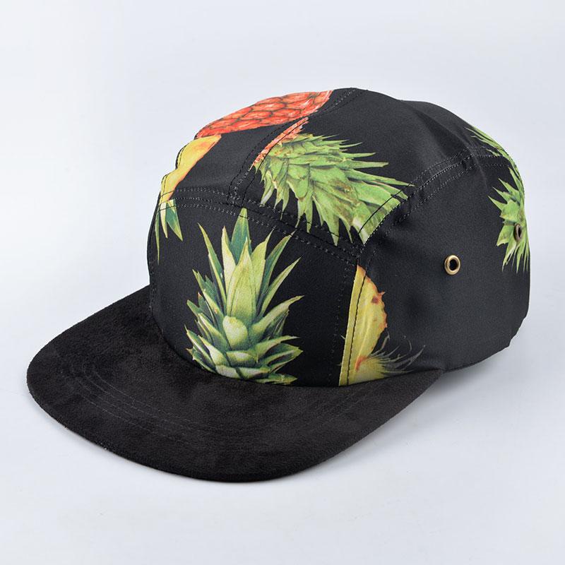 Prix pour Nouvelle Mode 20 style cinq 5 panneau chapeau boule Casquette de baseball pour femmes hommes ananas motif imprimer snapback hip hop chapeaux gorra os