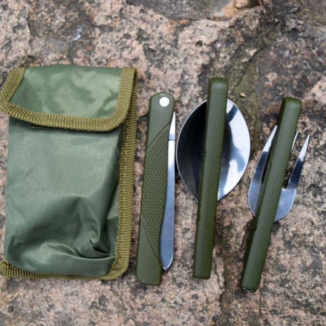 Outdoor Portable Mini Tableware Set Folding Cutlery Set with Spoon Fork Knives for Camping Picnic Stainless Steel Dinningware